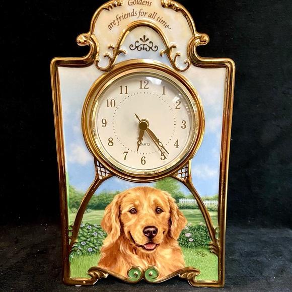 Limited edition golden retriever clock